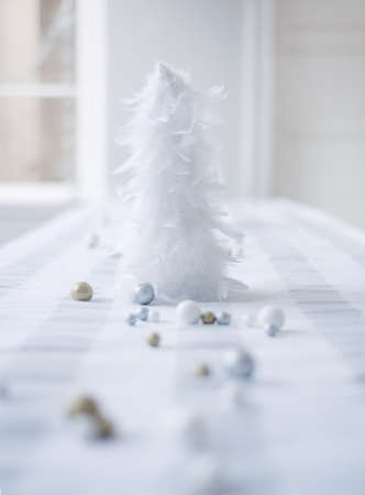 tabletop: white theme on the christmas tabletop