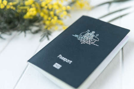 wattle: australian passport with wattle