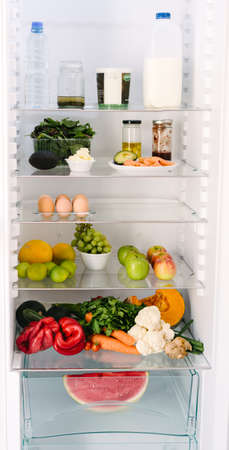 fruit and veg: inside the healthy persons fridge, lots of fruit, veg, dairy and eggs