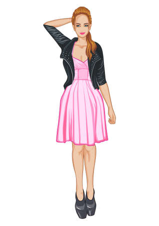 pink dress: The girl in a pink dress and black jacket