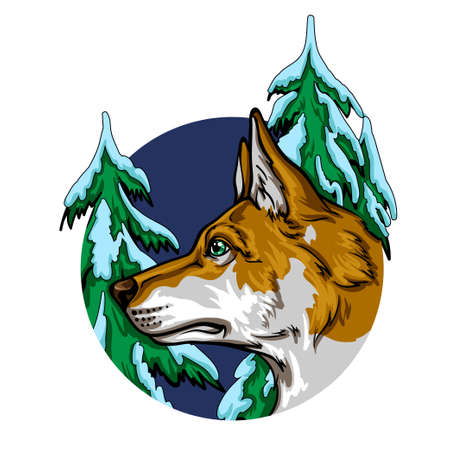 Portrait of a dog in a winter forest, vector illustration.