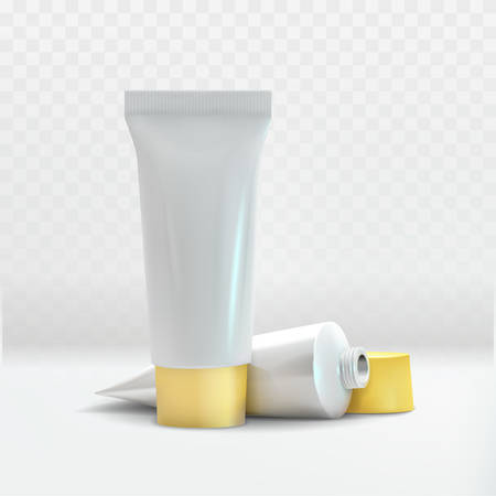 Vector Cream tube 3d composition on white checkered background vector illustration for presentation Cream