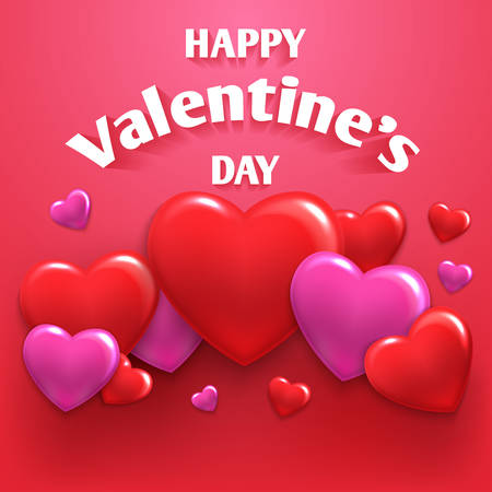Vector illustration of a happy day valentine hearts gathered in different fon.Vektor valentines day Иллюстрация