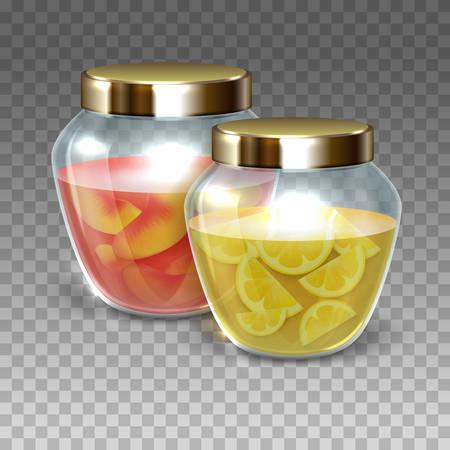 Vector Glass jars of jam on a plaid background, vector illustration Vettoriali