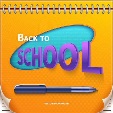 Back to school banner with Notepad and pen.Lovely template Vector illustration