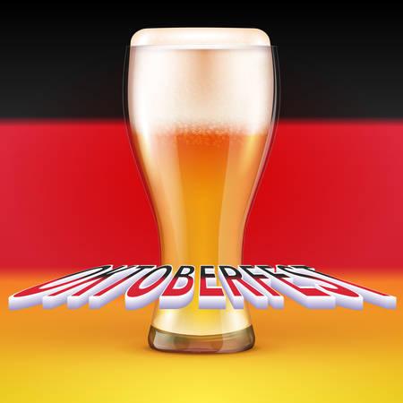 OKTOBERFEST BEER FESTIVAL Vector background A glass of beer Ilustrace
