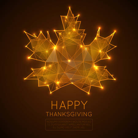 Happy thanksgiving day. Low poly Vector illustration.Abstract polygonal points