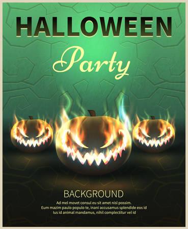 Happy Halloween Poster. Realistic pumpkins.A realistic fire.Vector illustration.