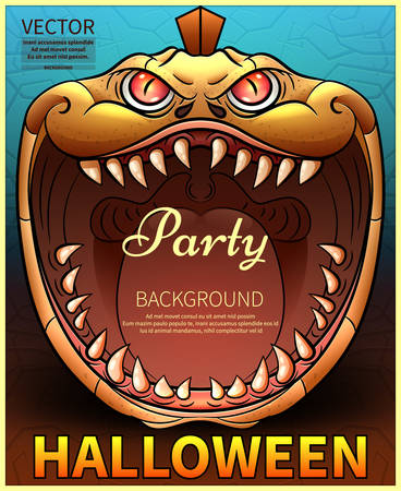 Happy Halloween Poster. Vector illustration.vector Comic pumpkin. Invitation to a party of Halloween.Vector illustration. Vettoriali