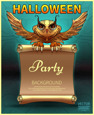 Happy Halloween Poster. Vector illustration.vector.Cartoon owl in comic style. Invitation to a party of Halloween