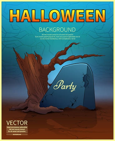 Happy Halloween Poster.Ancient tombstone .A realistic fire.Vector illustration.
