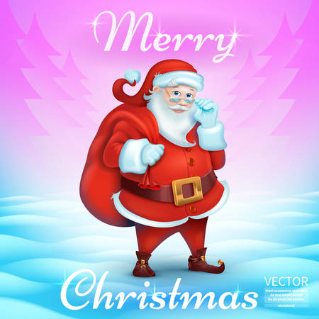Merry Christmas Title in Blank. 3D Realistic Santa Claus Cartoon Cute Character.purple, turquoise, snowy background. Vector Illustration. Vettoriali