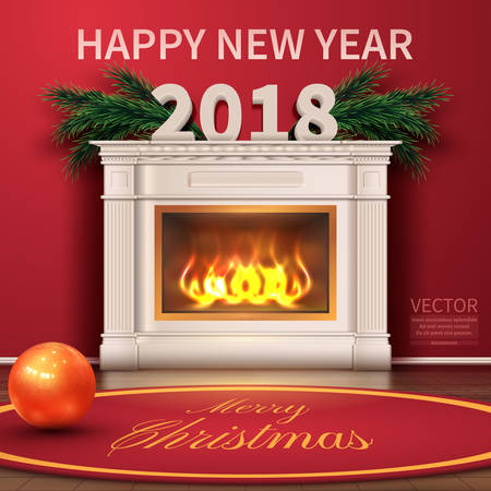 Holidays Background with Season Wishes. Merry christmas and happy new year 2018. Realistic Christmas Tree.Beautiful fireplace.Vector illustration
