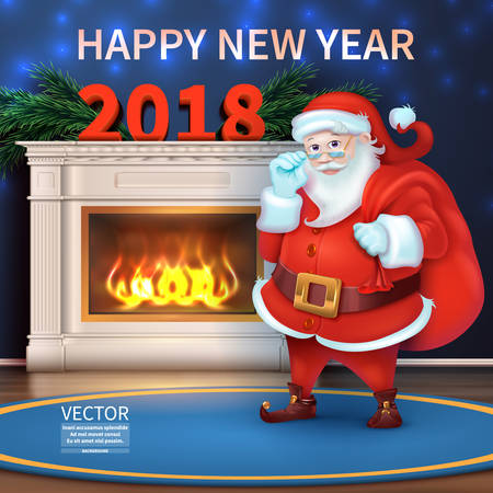 Holidays background with Season wishes. Merry Christmas and Happy New Year 2018. Realistic Santa Claus cartoon character. Beautiful fireplace illustration.