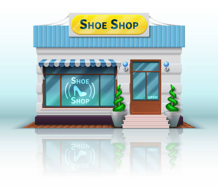 Different shop and store icon. Includes realistic Shoe Shop isolated on white background. Vector illustration