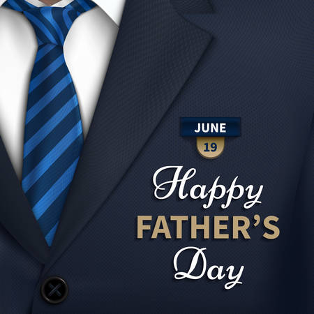 Happy Fathers Day greeting. Vector background with  necktie,costume Good vector illustration
