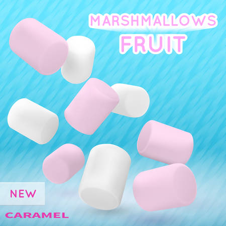 Marshmallow white and pink on isolated on a blue background. Good vector illustration for packing