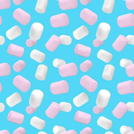Seamless pattern.Marshmallow white and pink on isolated on a blue background.Pattern of a beautiful marshmallow. Illustration