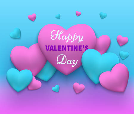 Illustration of a happy day valentine's in Pink and blue with hearts gathered in different color.