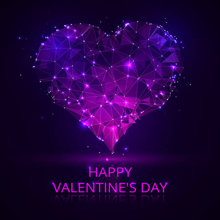 A blue-purple heart vector wireframe concept. Valentines card background with glowing geometrical patterns and abstract starry designs