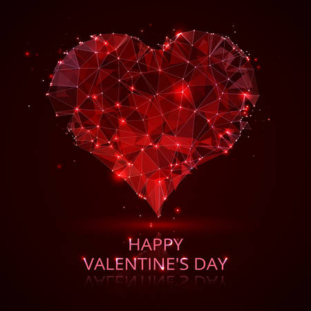 A red heart vector wireframe concept. Valentines card background with glowing geometrical patterns and abstract starry designs