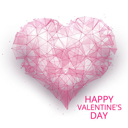 Vector illustration. Abstract happy day valentines in the form of a starry sky or space, consisting of points, lines, and shapes in the form stars. Isolated on white background. A heart vector wireframe concept Ilustrace