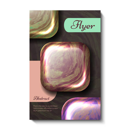 Creative, bright, universal, abstract card design. Gems, pattern and compositions include natural and geometric elements flyer. Dark background vector.