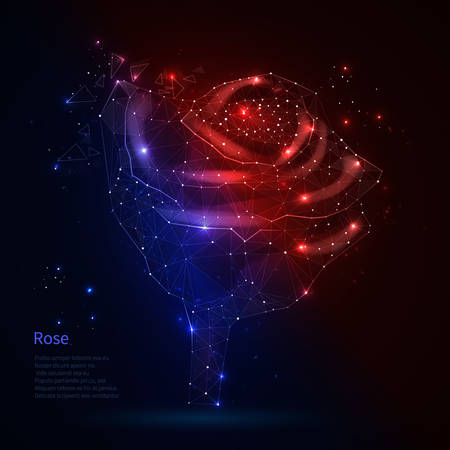 Red blue rose. Retro style disco. Star rose from polygons and constellations. Vettoriali