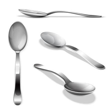 Realistic metal spoon from different points of view. Tablespoon set vector illustration Vettoriali