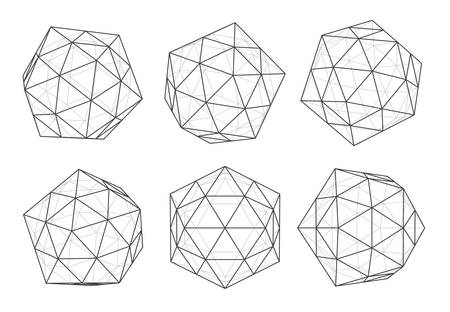 Geometric forms of diamonds. Realistic deamendas isolated on white background. Polygons of vectors. Space Technologies