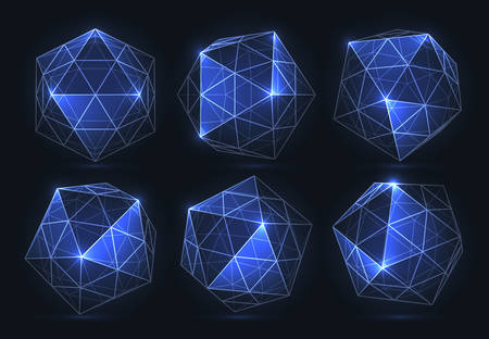 Geometric forms of diamonds. Realistic deamonds are isolated. Polygons of vectors Vettoriali