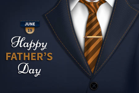 Happy Fathers Day greeting. Vector background with  necktie,costume Good vector illustration Realistic vector