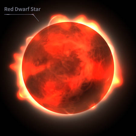 Red Dwarf Star  realistic planet is isolated on the cosmic sky in the darkness of the galaxy. A vector illustration of astronomy and astrology