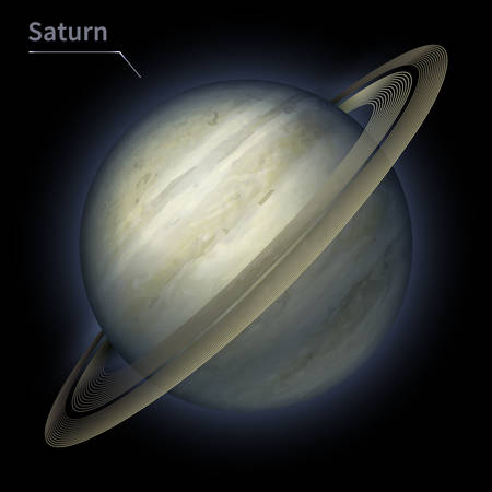 Saturn realistic planet is isolated on the cosmic sky in the darkness of the galaxy. A vector illustration of astronomy and astrology Vettoriali
