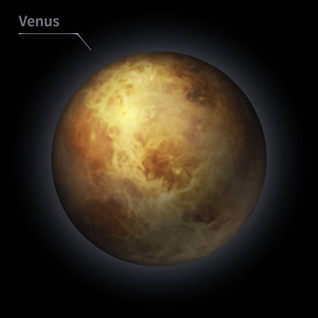 Venus realistic planet is isolated on the cosmic sky in the darkness of the galaxy. A vector illustration of astronomy and astrology.