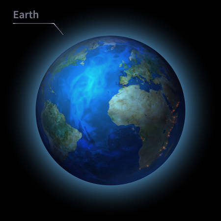Earth realistic planet is isolated on the cosmic sky in the darkness of the galaxy. A vector illustration of astronomy and astrology