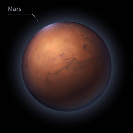 Mars realistic planet is isolated on the cosmic sky in the darkness of the galaxy. A vector illustration of astronomy and astrology Vettoriali