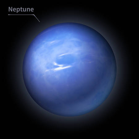 Neptune realistic planet is isolated on the cosmic sky in the darkness of the galaxy. A vector illustration of astronomy and astrology Vettoriali