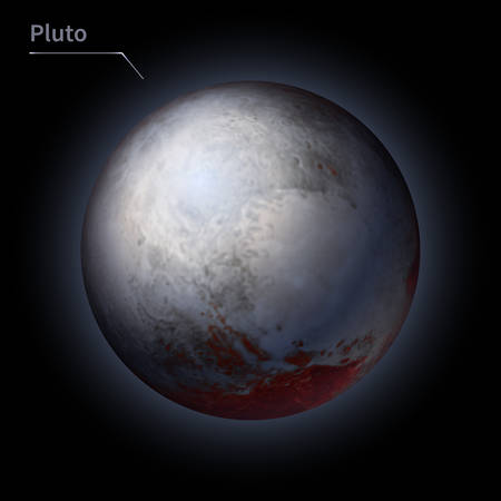 Pluto realistic planet is isolated on the cosmic sky in the darkness of the galaxy. A vector illustration of astronomy and astrology