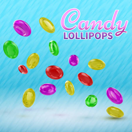 Candy lollipops  on isolated on a blue background. Good vector illustration