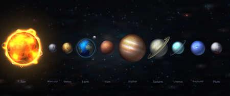 Il sistema solare nella nostra galassia è costituito da tutti i pianeti del nostro sistema. illustrazione vettoriale di astronomia e astrologia Archivio Fotografico