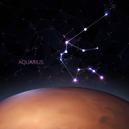Planet with a kind of constellation of the sign of the zodiac aquarius .Polygons vector illustration design