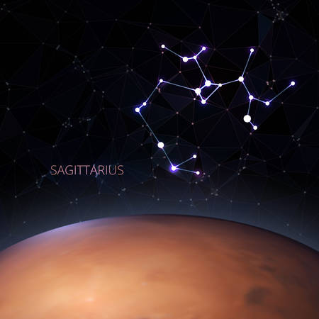 Planet with a kind of constellation of the sign of the zodiac sagittarius. Polygons vector illustration design