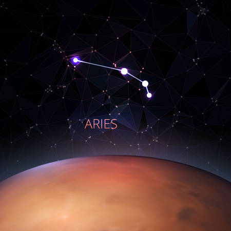 Planet with a kind of constellation of the sign of the zodiac Aries. Polygons vector illustration design