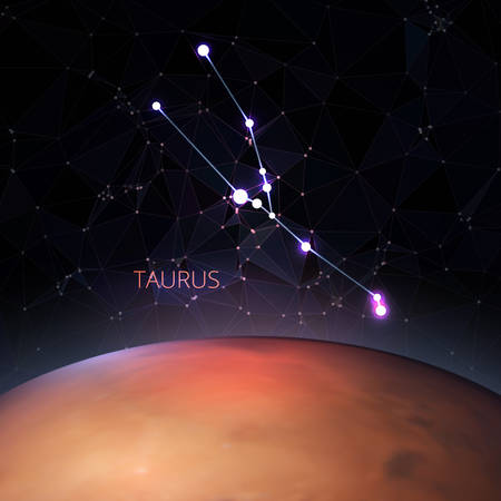 Planet with a kind of constellation of the sign of the zodiac Taurus. Polygons vector illustration design