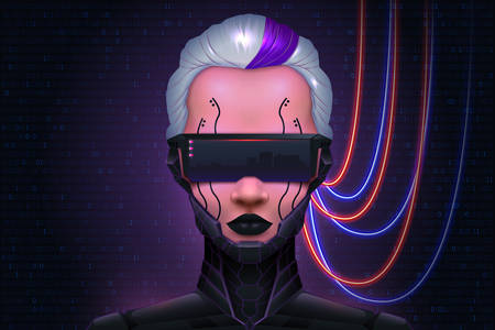 Girl Cyberpunk technology of the future. Ilustrace
