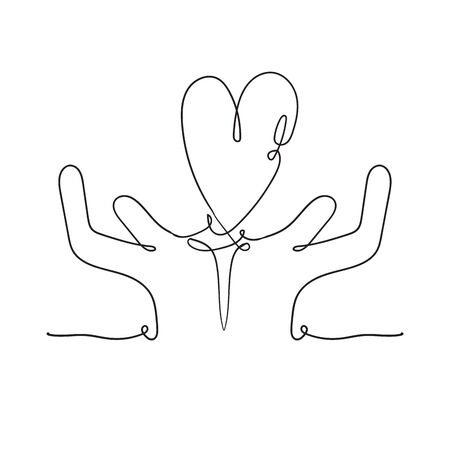Heart in hand illustration with continuous line drawing doodle handdrawn style vector