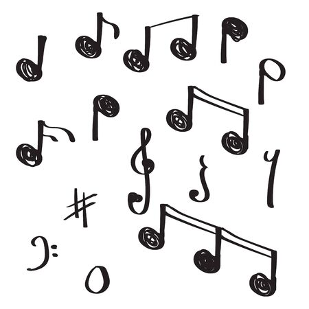 illustration vectorielle de musique note doodle dessinés à la main unique