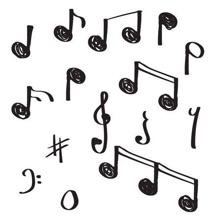 unieke hand getrokken doodle notitie muziek vectorillustratie