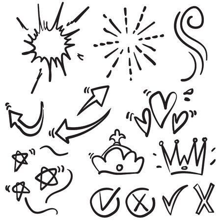 doodle various object collection handdrawn style